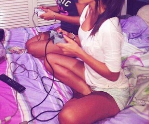 girl, friends, and play image