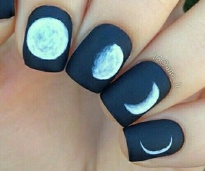 black and white, moon, and nails image