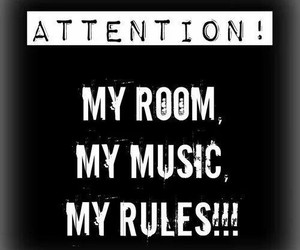 music, room, and rules image