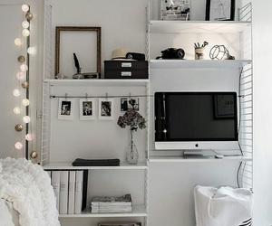 bed, black and white, and teen room image