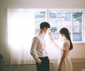 asian fashion, korean, and couple image