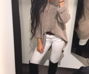 long hair, outfit, and winter outfit image