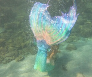 mermaid, rainbow, and sea image