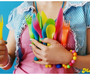 colors, cutlery, and girl image