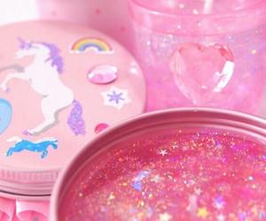 pink, glitter, and unicorn image
