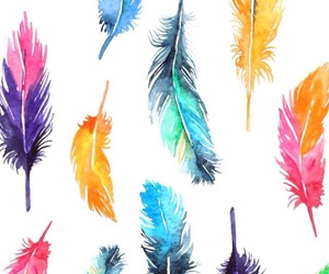 wallpaper, colors, and feathers image