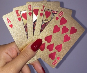 cards, gold, and red image