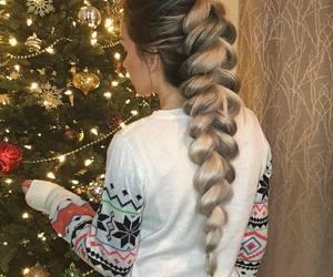 hair, braid, and christmas image