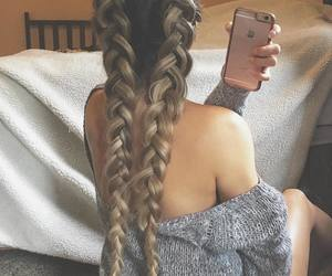 blonde hair, girly, and braided hair image