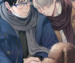 yuuri, viktor, and yuri on ice image