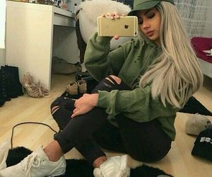 girl, outfit, and iphone image
