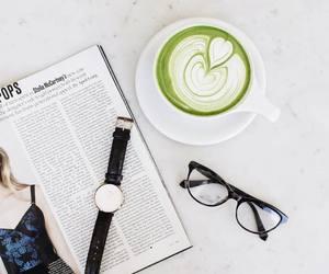 glasses, green tea, and minimal image