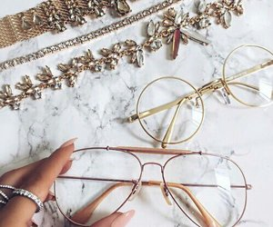 glasses, accessories, and gold image