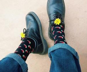 flowers, shoes, and watermelon image