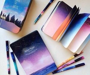 art, book, and galaxy image