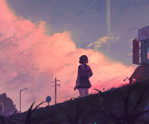art, anime girl, and background image