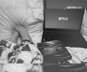 bed, blackandwhite, and blanket image