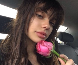 girl, pink, and rose image