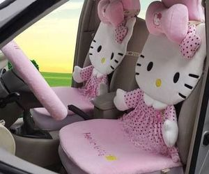 car and hello kitty image