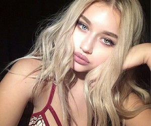 blond, blue eyes, and makeup image