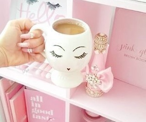pink, girly, and coffee image
