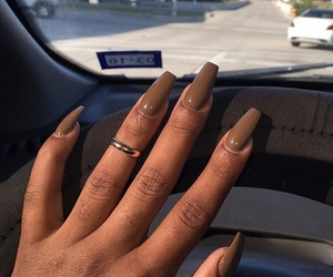 nails, makeup, and brown image