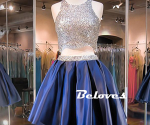 beaded, dark blue, and party dress image
