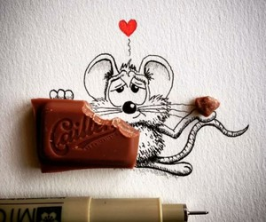 mouse, chocolate, and drawing image