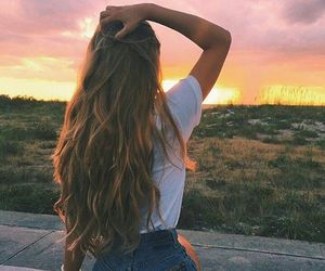 girl, hair, and sunset image