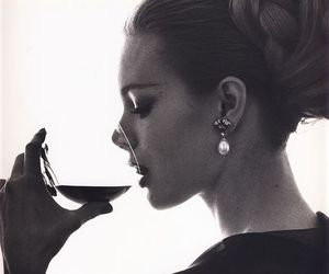 wine, black and white, and drink image