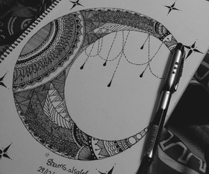 art, mandala, and moon image