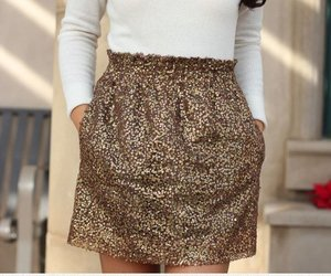 fashion, golden, and skirt image