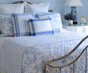 bedroom decor and blue & white image