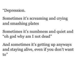 depression, quote, and sad image