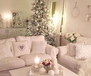 candle, pillows, and christmas tree image