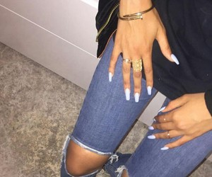 nails, jeans, and outfit image