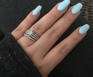 baby blue, blue nails, and chic image
