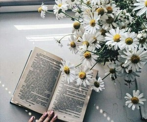 flowers, pretty, and book image
