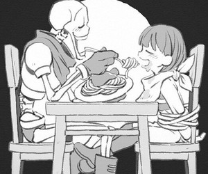 papyrus, frisk, and undertale image