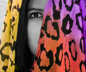 eyes, hijab, and leopard print image