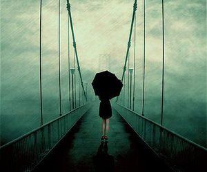 bridge, umbrella, and rain image