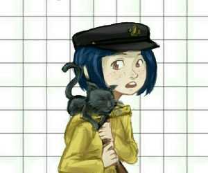 cat, coraline, and girl image