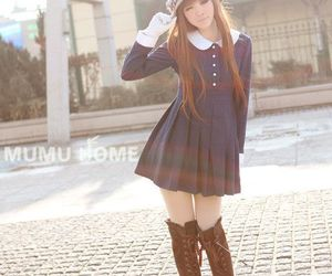 boots, cap, and girl image