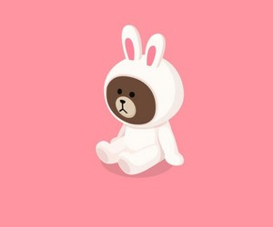 wallpaper, pink, and rabbit image