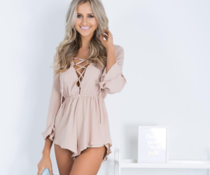 beige, dress, and evening image