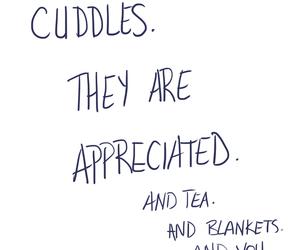 cuddle, love, and tea image