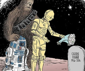 star wars, carrie fisher, and r2d2 image