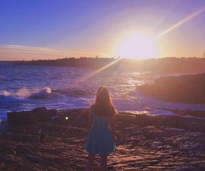 girl, sunrise, and sunset image