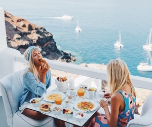 travel, friends, and breakfast image
