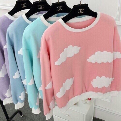 pink, clouds, and clothes image